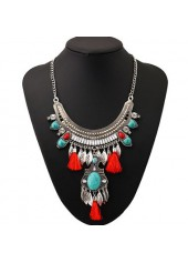 wholesale Red Tassel Decorated Metal Necklace for Woman