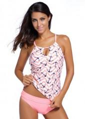 Anchor Print Top and Panty Tankini Set