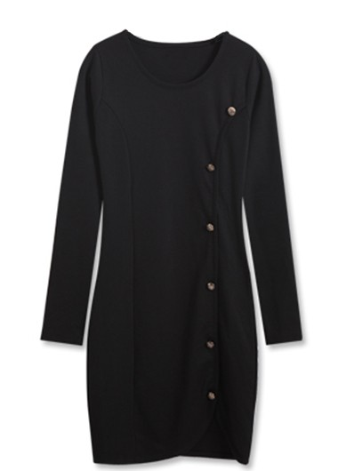 Button Closure Long Sleeve Round Neck Black Dress