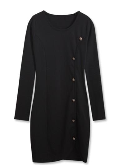 Button Closure Long Sleeve Round Neck Black Dress