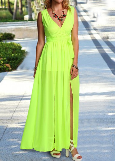 Light Green V Neck Sleeveless Maxi Dress