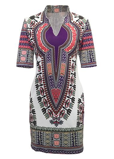 Split Neck Short Sleeve Dashiki DressPrint Dresses<br><br><br>color: Purple<br>size: S,M,L,XL,XXL,XXXL
