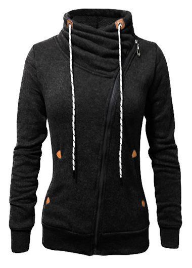 Zipper Closure Long Sleeve Black Sweatshirt
