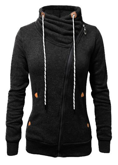 Zipper Closure Long Sleeve Black Sweatshirt