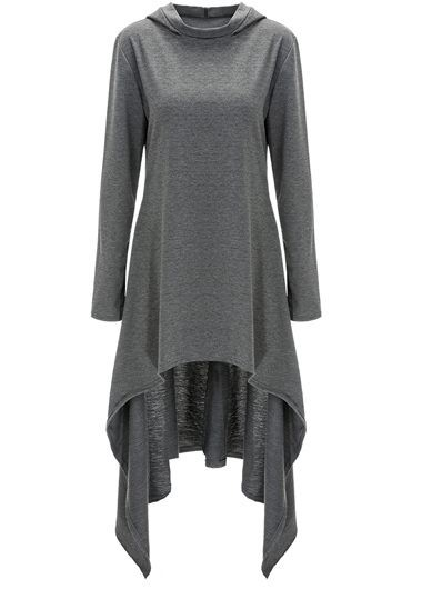 Pullovers Long Sleeve Grey High-Low Sweats