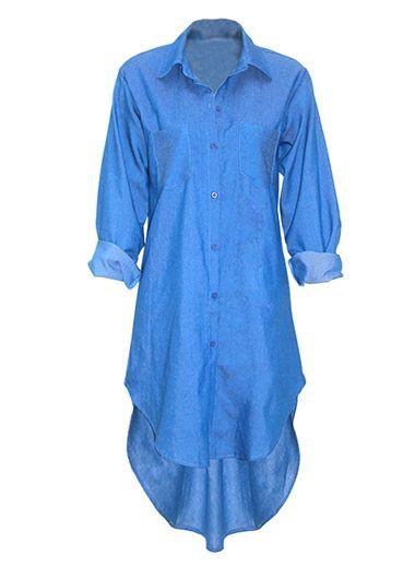 Button Closure Asymmetric Hem Long Sleeve Denim Dress