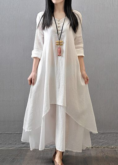 Long Sleeve Button Decorated White Maxi DressCasual Dresses<br><br><br>color: White<br>size: M,L,XL,XXL,S