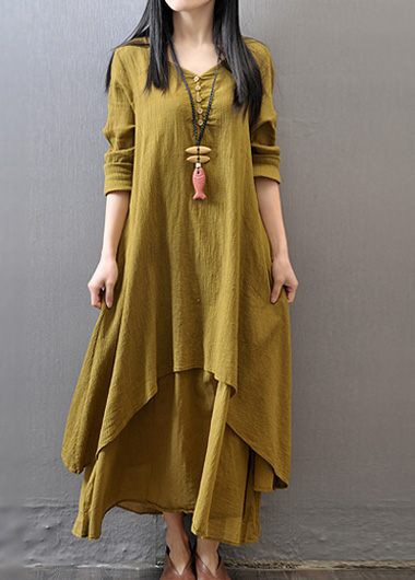 V Neck Long Sleeve Button Design Dress