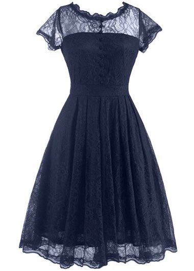 Navy Blue Open Back Lace Skater Dress