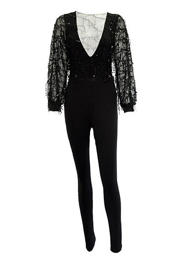 Mesh Panel Sequin Decorated Black Skinny Jumpsuit