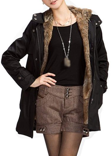Long Sleeve Hooded Collar Black Belted Parka Coat