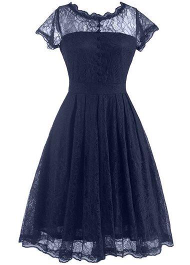 Navy Blue Open Back Lace Skater Dress