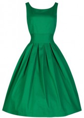 Round Neck Green Pleated Vintage A Line Dress