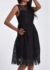 Sleeveless Solid Black Lace Skater Dress