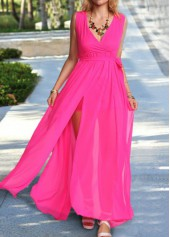 Rose V Neck Sleeveless Maxi Dress