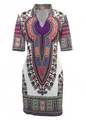 Split Neck Short Sleeve Dashiki Dress