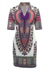 Split Neck Short Sleeve Dashiki Dress