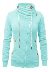 Cyan Pocket Design Long Sleeve Sweatshirt