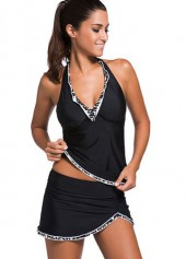 Open Back Top and Black Pantskirt Tankini Set