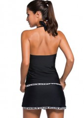 wholesale Open Back Top and Black Pantskirt Tankini Set