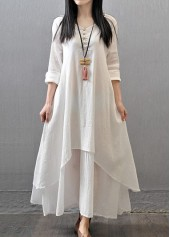 Long Sleeve Button Decorated White Maxi Dress