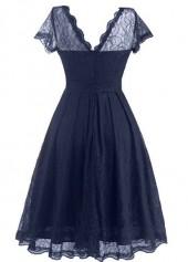 wholesale Navy Blue Open Back Lace Skater Dress