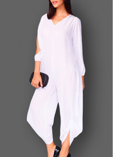 V Neck Slit Sleeve White Jumpsuit