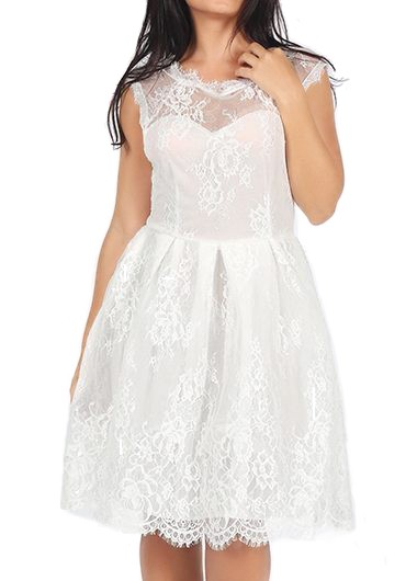 Round Neck White Lace Skater Dress