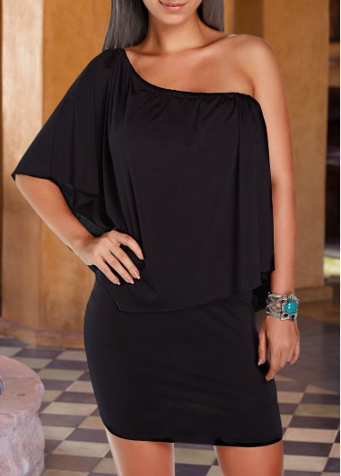 Black Round Neck Ruffle Overlay Dress