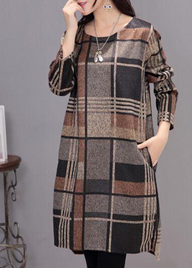 Plaid Print Round Neck Asymmetric Dress