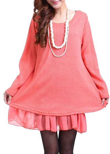 Round Neck Knitted Pink Faux Two Piece Dress