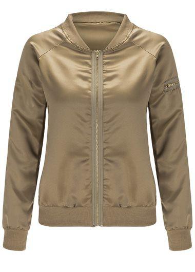 Gold Cuff Sleeve Zipper Closure Jacket