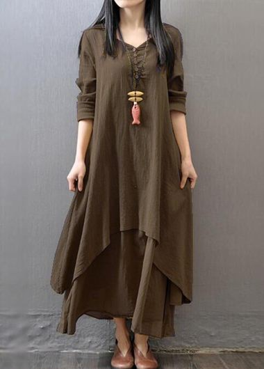 V Neck Long Sleeve Tiered Maxi Dress