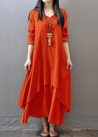 Button Design V Neck Layered Orange DressCasual Dresses<br><br><br>color: Orange<br>size: M,L,XL,XXL,XXXL,4XL,S