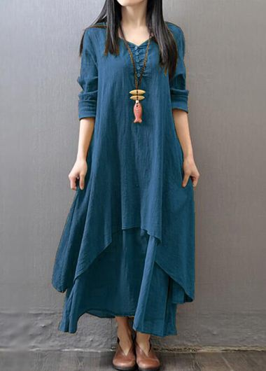 Long Sleeve V Neck Layered DressCasual Dresses<br><br><br>color: Blue<br>size: M,L,XXL