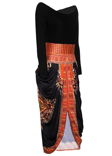 Round Neck High Low Dashiki Print DressPrint Dresses<br><br><br>color: Black<br>size: S,M,L,XL
