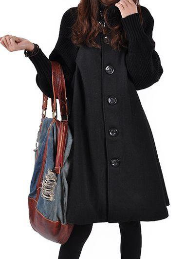 Button Closure Long Sleeve Black Swing Coat