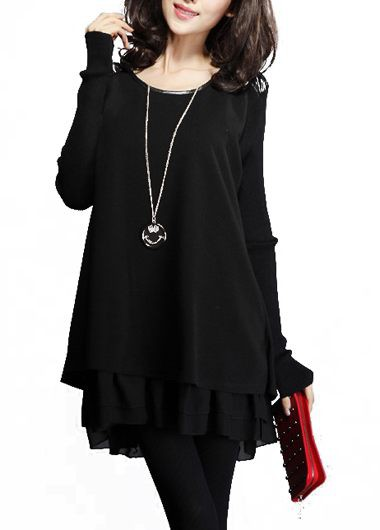 Long Sleeve Black Round Neck Patchwork Dress
