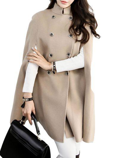 Button Closure Apricot Cloak Long Coat