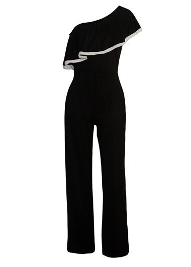 Skew Neck Black Flounce Design Jumpsuit