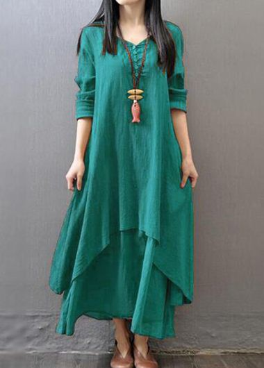 V Neck Long Sleeve Tiered Green DressCasual Dresses<br><br><br>color: Green<br>size: M,L,XL,XXL,S