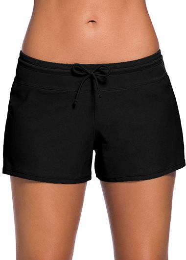 Solid Black Drawstring Waist Swimwear Shorts