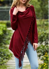 Tassel Design Wine Red Long Sleeve T Shirt