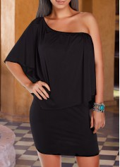 Black Round Neck Ruffle Overlay Dress