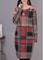 Pocket Design Plaid Print Straight Dress