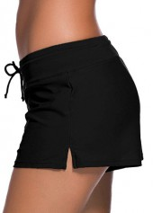 wholesale Solid Black Drawstring Waist Swimwear Shorts
