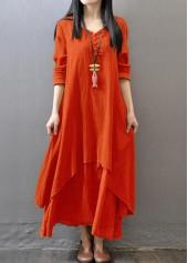 Button Design V Neck Layered Orange Dress