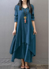 Long Sleeve V Neck Layered Dress
