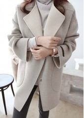 Turndown Collar Long Sleeve Pocket Design Coat
