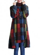 Plaid Print Asymmetric Hem Long Sleeve Straight Dress